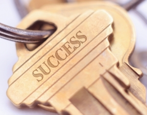 Concept photograph for the key to success.